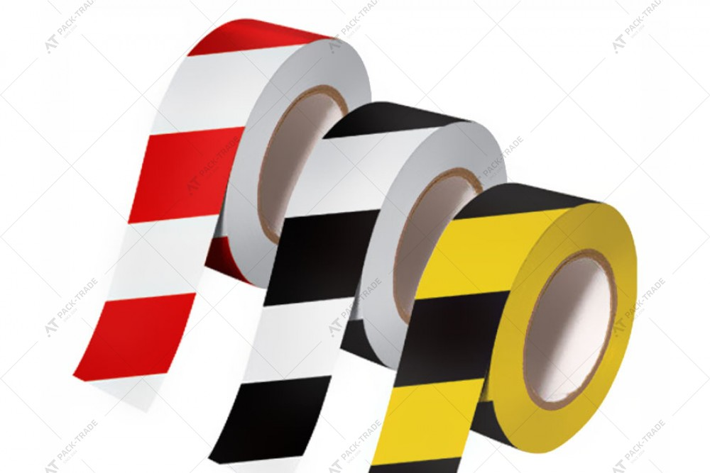 Лента предупредительная ПВХ желто-черная 50*33